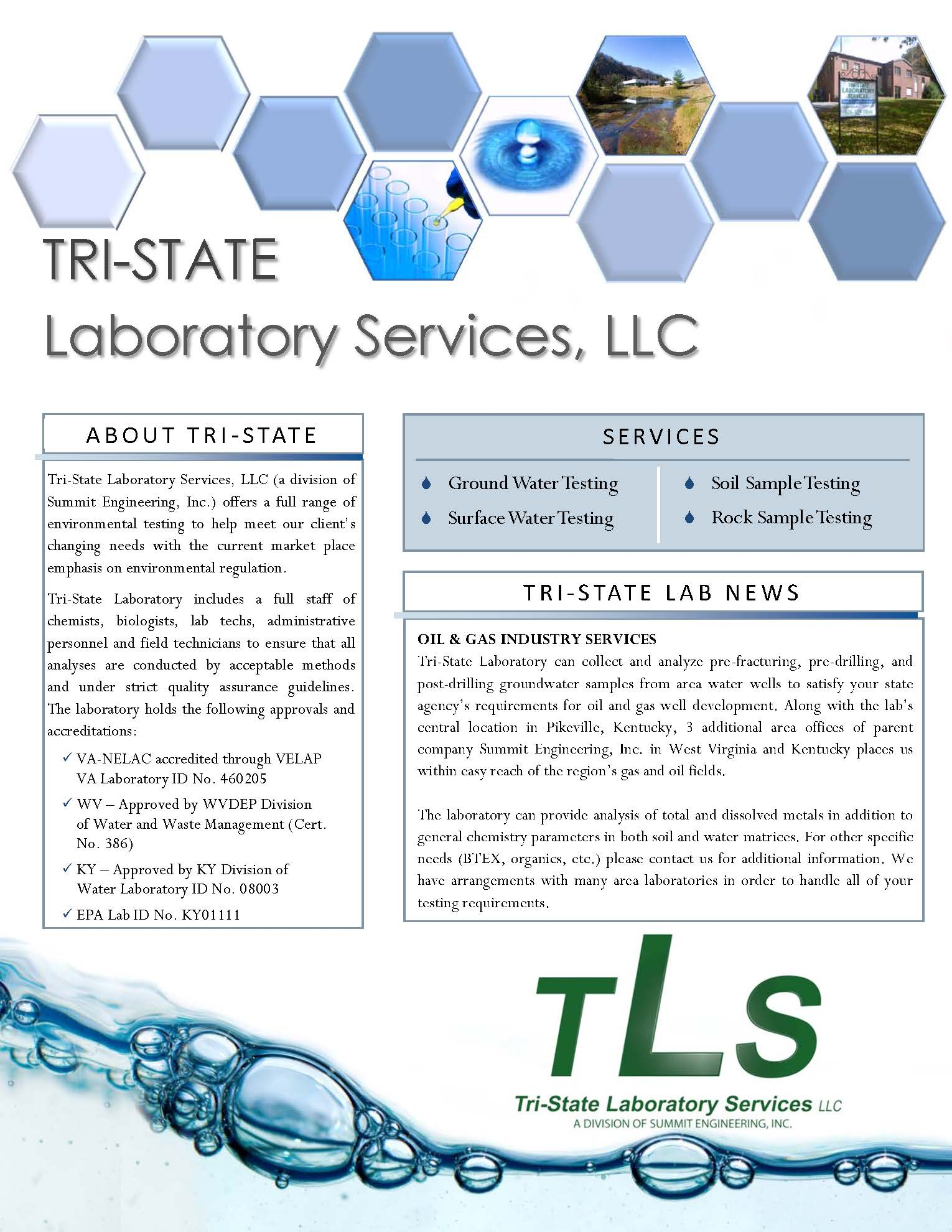 Environmental Laboratory Services Info Bulletin & Brochure