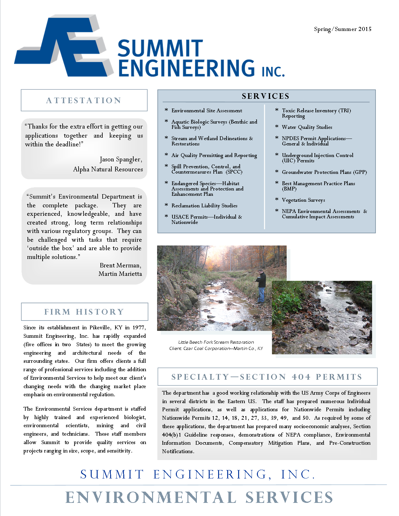 Environmental Engineering Services Brochure